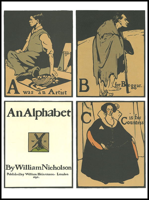 An Alphabet, William Nicholson, Gepubliceerd door William Heineman, Londen 1898, ex libris ABC-bibliotheek