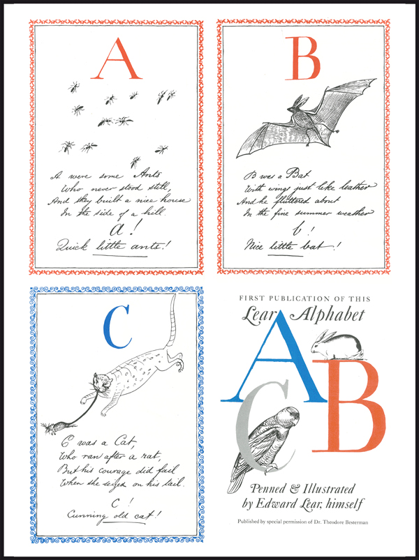 ABC / Lear Alphabet / Penned & Illustrated by Edward Lear, himself London – Constable Young Books Ltd. First English edition 1965 / Ex Libris ABC-Collection