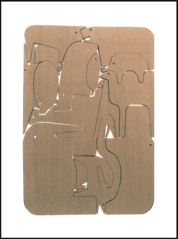 16 animali / jigsaw puzzle / oak wood / screen printed wood box / Enzo Mari / Danese / 1960 / ABC-Collection / 38 x 27 x 5,5 cm