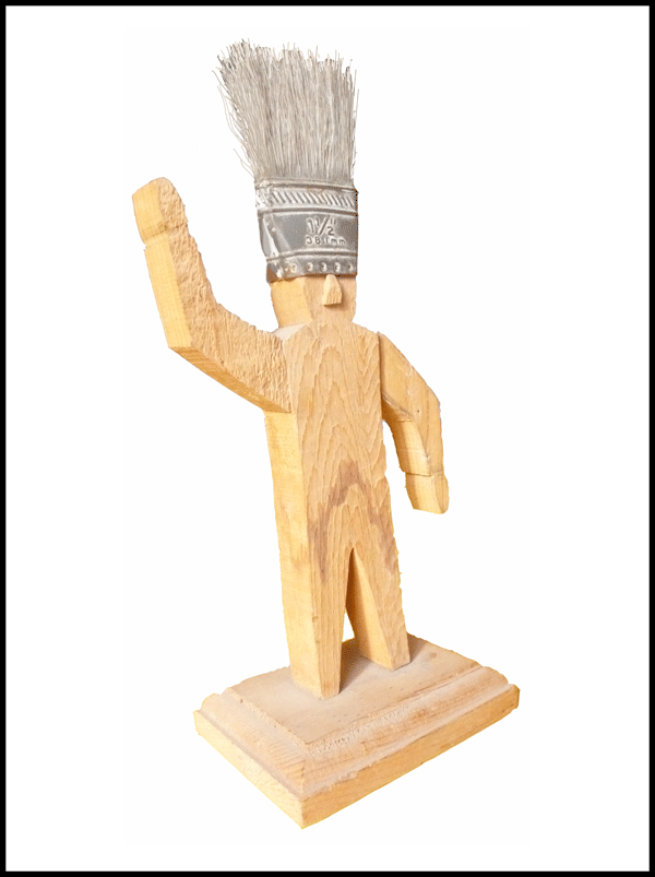 WOOD & BRUSH FIGURE / 21 cm / DAVILA 1986 / USA / New Mexico / ex libris ABC-bibliotheek